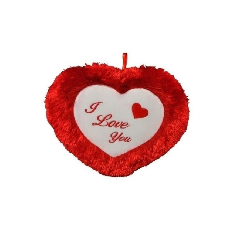 Rood pluche kussen I Love You 35 cm