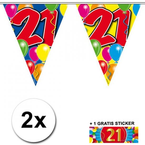 2x vlaggenlijn 21 jaar met gratis sticker