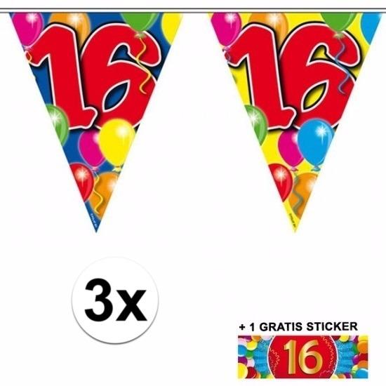 3x vlaggenlijn 16 jaar met gratis sticker