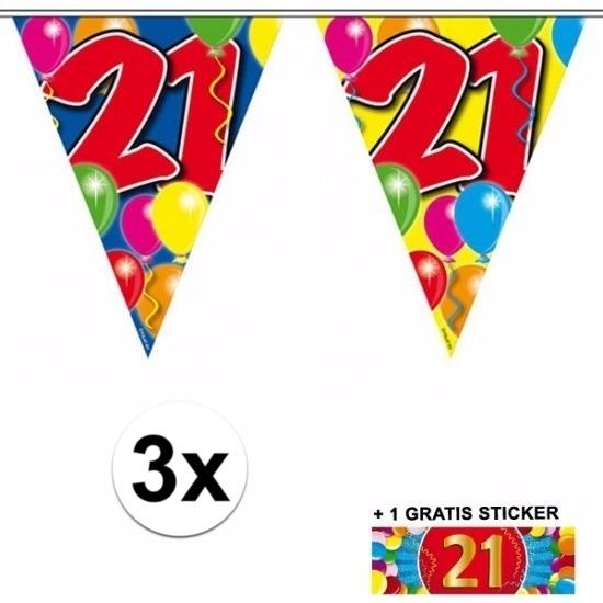 3x vlaggenlijn 21 jaar met gratis sticker