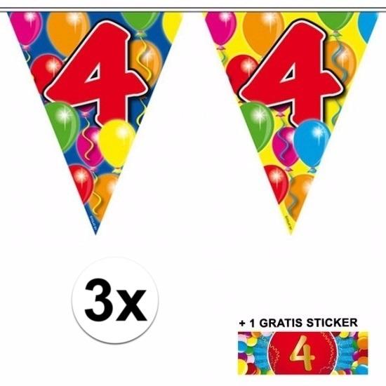 3x vlaggenlijn 4 jaar met gratis sticker