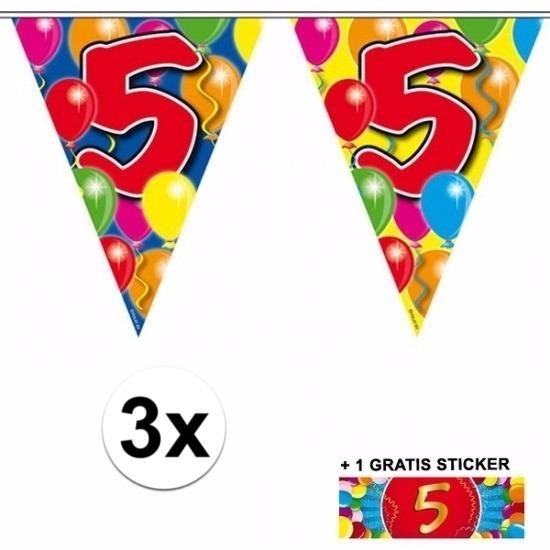 3x vlaggenlijn 5 jaar met gratis sticker