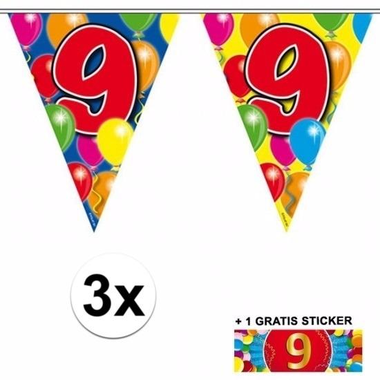 3x vlaggenlijn 9 jaar met gratis sticker