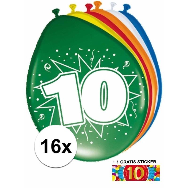 Ballonnen 10 jaar van 30 cm 16 stuks + gratis sticker
