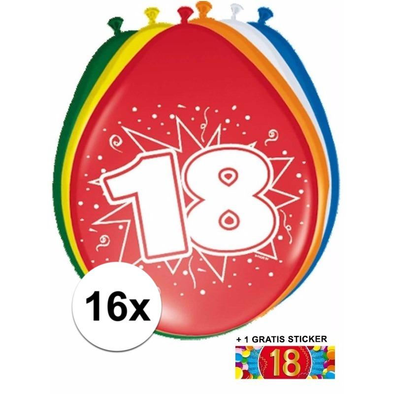 Ballonnen 18 jaar van 30 cm 16 stuks + gratis sticker
