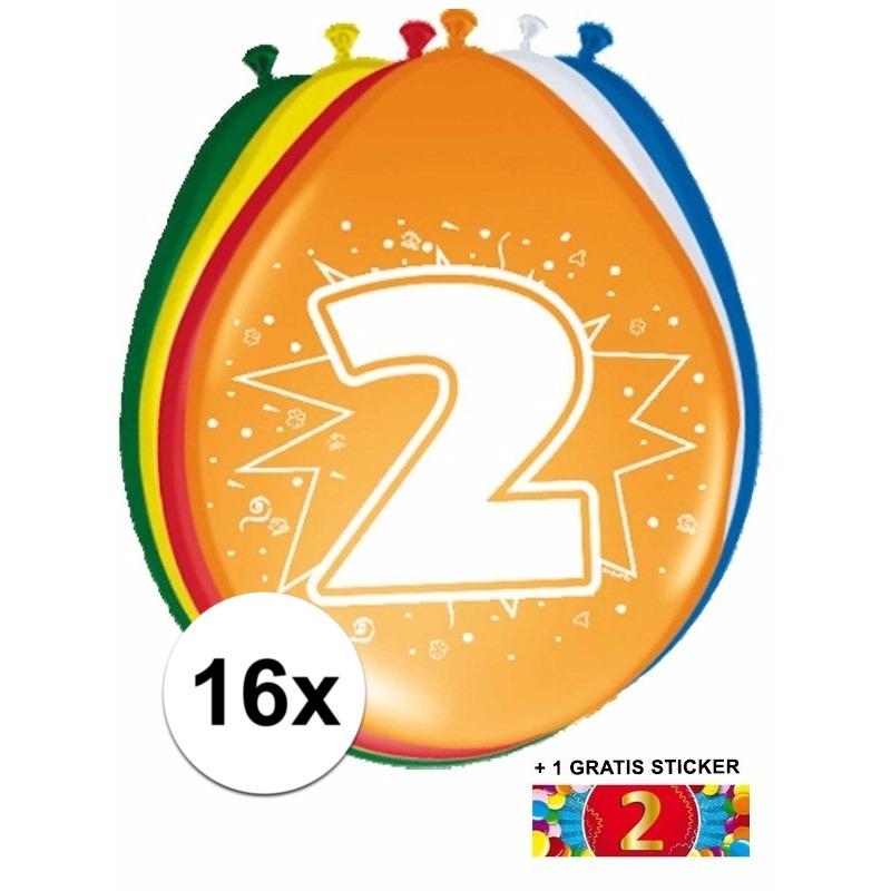 Ballonnen 2 jaar van 30 cm 16 stuks + gratis sticker