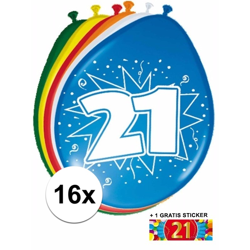 Ballonnen 21 jaar van 30 cm 16 stuks + gratis sticker