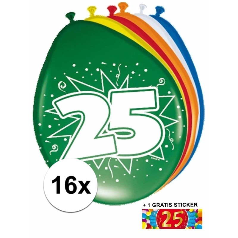 Ballonnen 25 jaar van 30 cm 16 stuks + gratis sticker