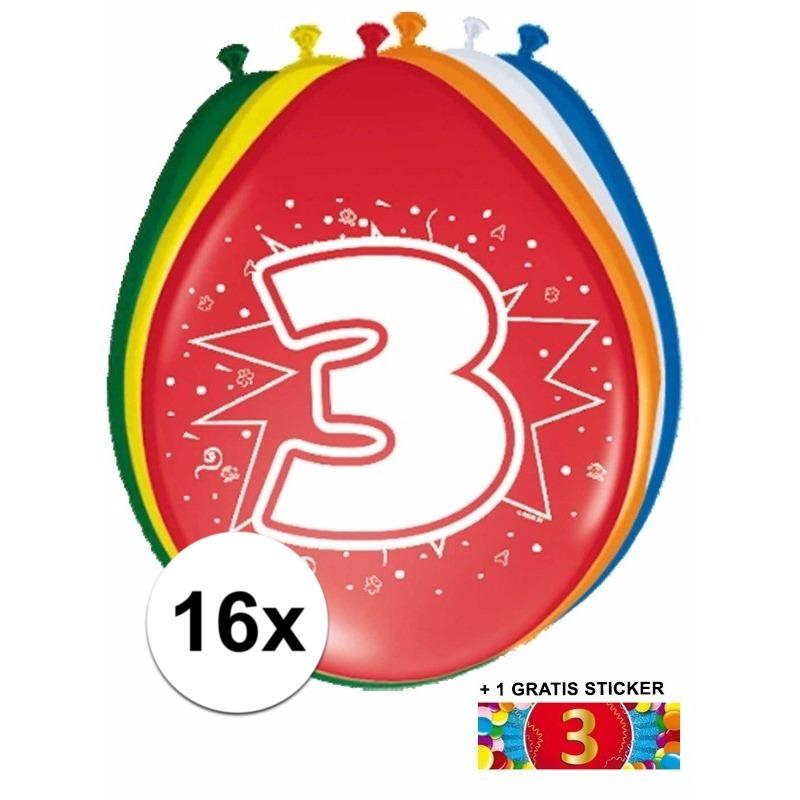 Ballonnen 3 jaar van 30 cm 16 stuks + gratis sticker