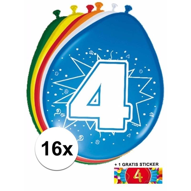 Ballonnen 4 jaar van 30 cm 16 stuks + gratis sticker