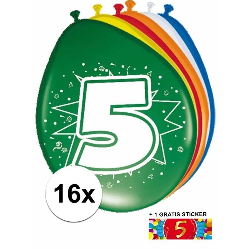 Ballonnen 5 jaar van 30 cm 16 stuks + gratis sticker