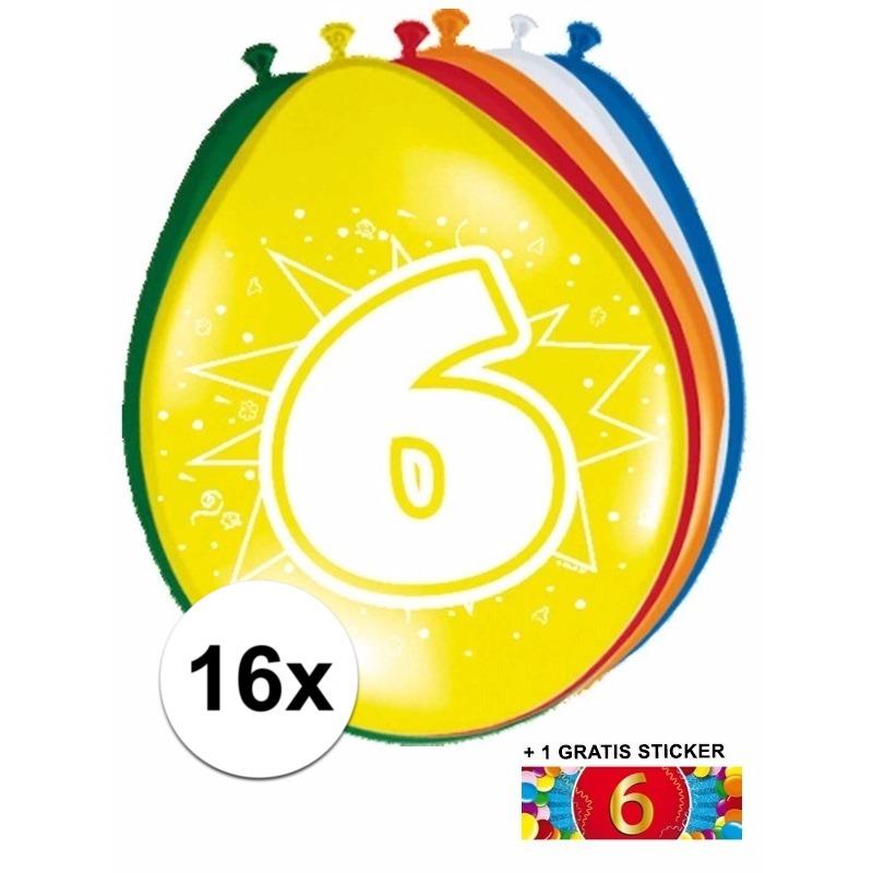 Ballonnen 6 jaar van 30 cm 16 stuks + gratis sticker