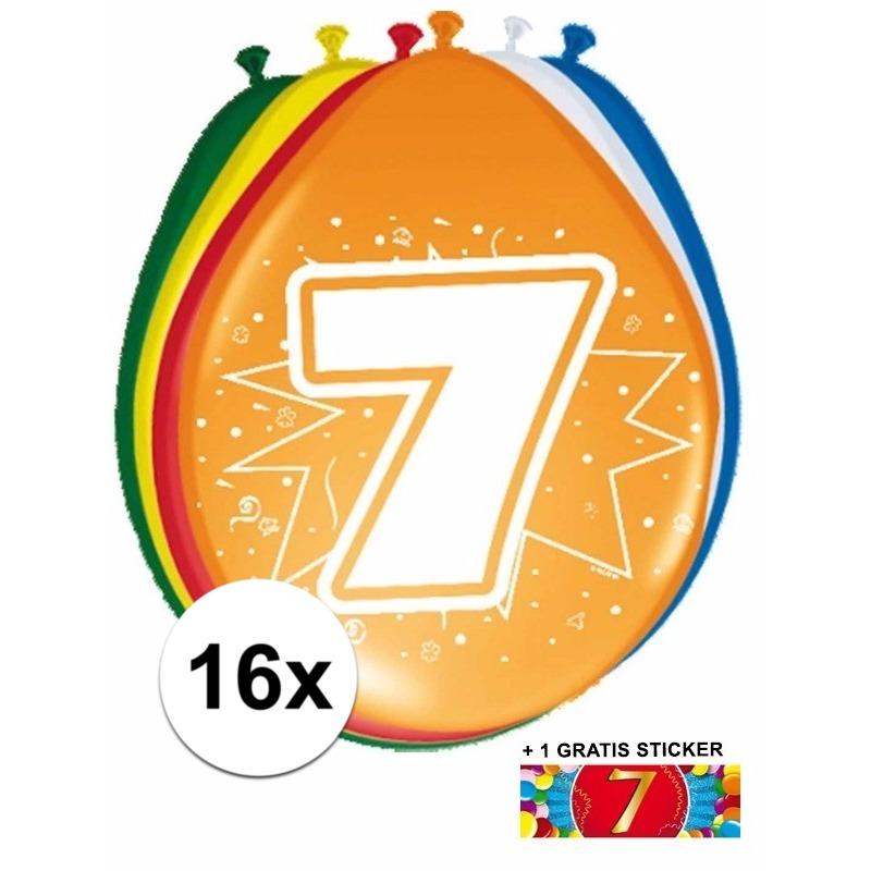 Ballonnen 7 jaar van 30 cm 16 stuks + gratis sticker