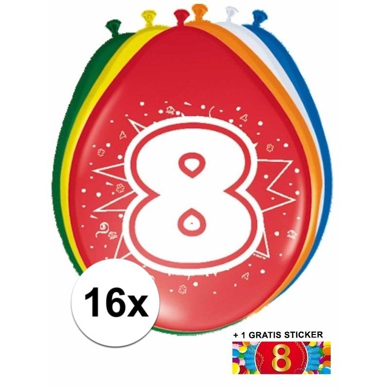 Ballonnen 8 jaar van 30 cm 16 stuks + gratis sticker