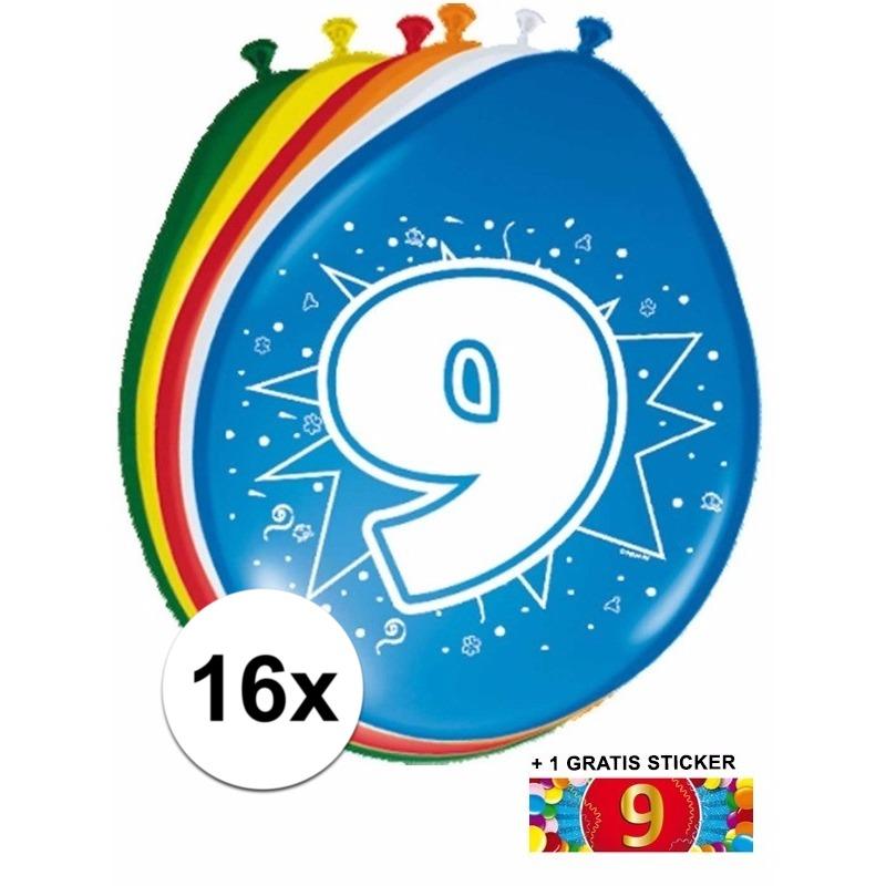 Ballonnen 9 jaar van 30 cm 16 stuks + gratis sticker