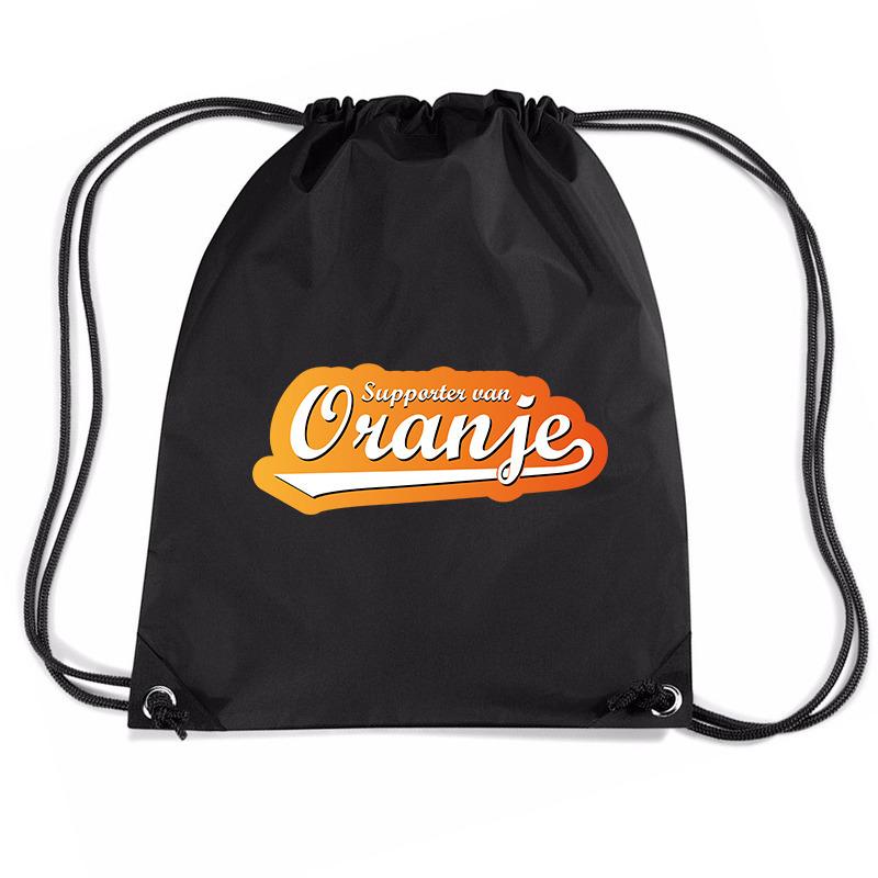 Supporter van oranje voetbal rugzakje / sporttas met rijgkoord zwart